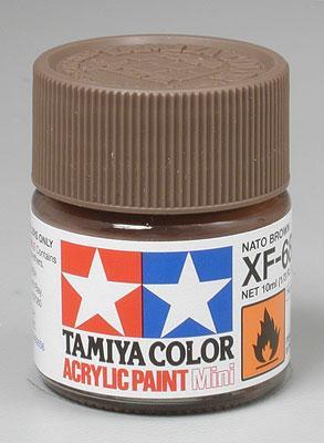 Акриловая краска 10мл Mini XF-68 NATO коричневый (матовая) Tamiya 81768