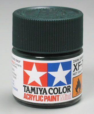 Акриловая краска 10мл Mini XF-70 темнозеленый 2 (матовая) Tamiya 81770