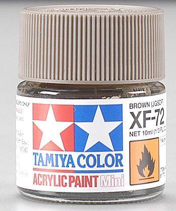 Акриловая краска 10мл Mini XF-72 японский коричневый (матовая) Tamiya 81772