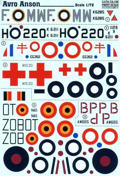 Декаль для самолета Avro Anson Print Scale 72156