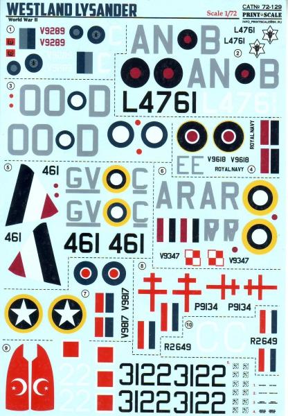 Декаль для самолета Westland Lysander Print Scale 72129