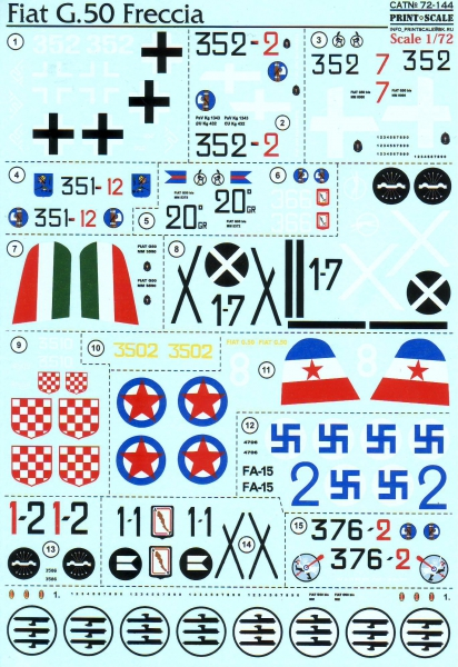 Декаль для самолета Fiat G.50 Freccia Print Scale 72144
