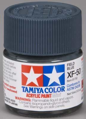 Акриловая краска 10мл Mini XF-50 полевой синий (матовая) Tamiya 81750