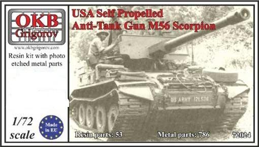 Американская легкая авиадесантная противатанковая САУ M56 Scorpion OKB Grigorov 72024