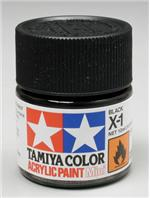 Акриловая краска 10мл Mini X-1 черный (глянцевая) Tamiya 81501