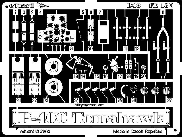 Фототравление 1/48 P-40C (рекомендовано для Academy, HobbyCraft) Eduard 137