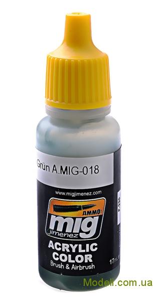 Акриловая краска AMMO A-MIG-0018: Полицейский зеленый MIG (AMMO) 0018