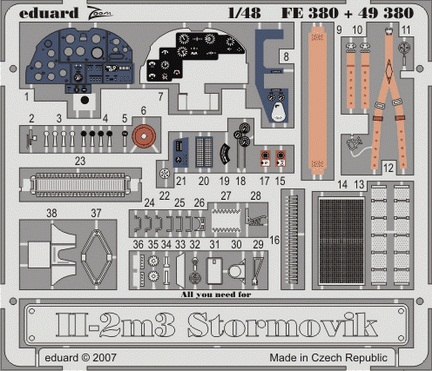 Фототравление 1/48 Ил-2м3 (цветная, рекомендовано для Accurate Miniatures) Eduard 380