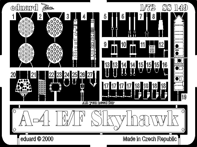 Фототравление 1/72 A-4E/F Skyhawk Eduard 149