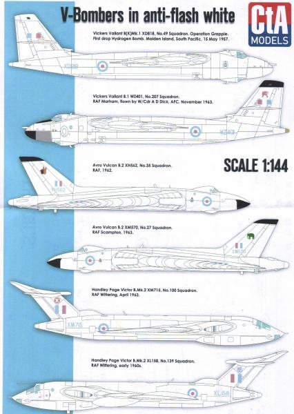 Декаль для послевоенных тяжелых бомбардировщиков Британии (спец. окраска) CTA 14401