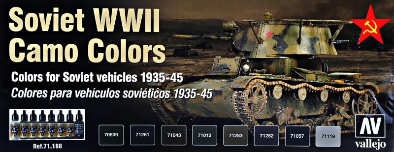 Набор красок ''Model Air'' цвета советской бронетехники, камуфляж, 2 МВ, 8 шт Vallejo 71188