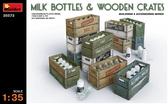 Молочные бутылки с ящиками