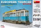 Европейский трамвай с вагоновожатым, кондуктором и пассажирами