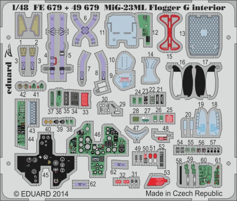 Фототравление 1/48 МиГ-23 МЛ Flogger G интерьер (Trumpeter) Eduard 679