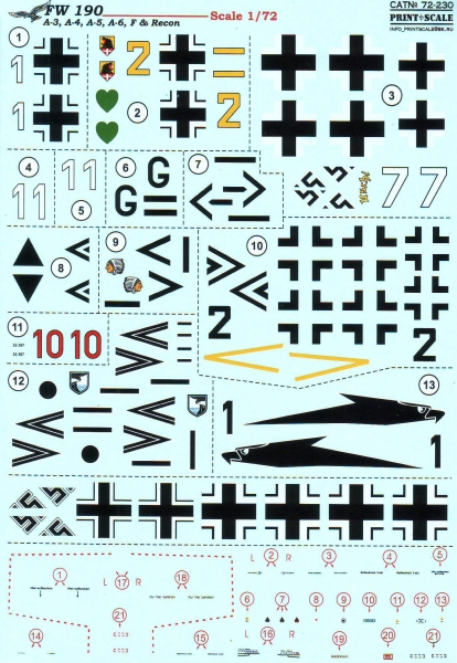 Декаль для самолетов Fw 190 A-3, A-4, A-5, A-6, F & Recon Print Scale 72230