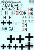 Декаль для самолетов He 111 H-16, H-20 & H-22