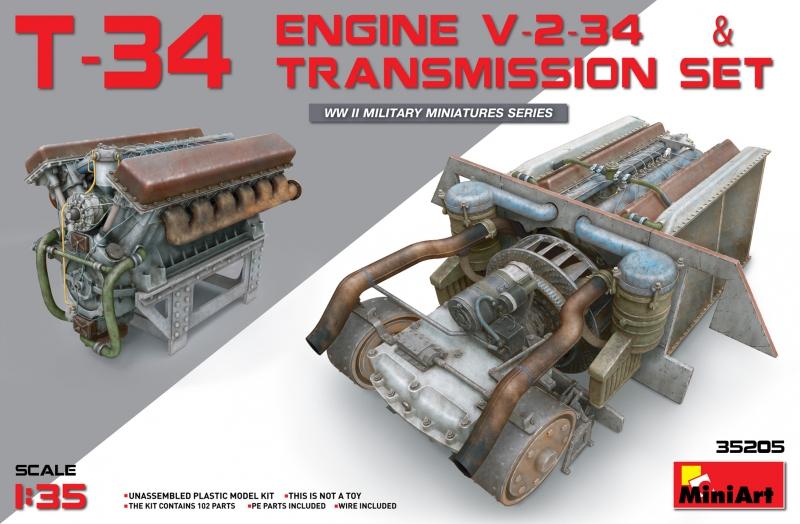 Двигатель V-2-34 с трансмиссией для танка Т-34 MiniArt 35205