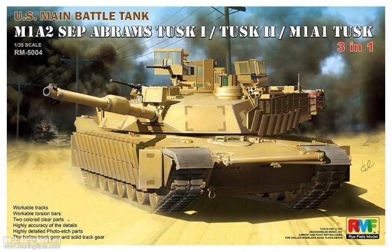 Американский танк M1A2 SEP Abrams Tusk I/Tusk II/M1A1 Tusk Rye Field Model 5004