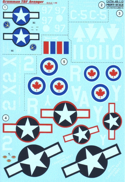 Декаль для самолета Grumman TBF Avenger Print Scale 48110