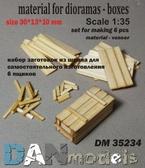 Материал для диорам: набор для изготовления 6 деревянных ящиков