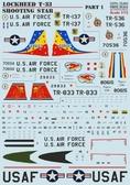 Декаль для самолета Lockheed T-33 ''Shooting Star'', часть 1