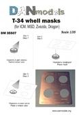 Фототравление: Трафарет для покраски колес танка Т-34 (ICM, MSD, Zvezda, Dragon)