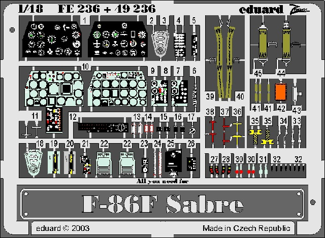 Фототравление 1/48 F-86F Sabre (HAS) Eduard 236