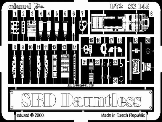 Фототравление 1/72 SBD Донтлесс (рекомендовано для Hasegawa) Eduard 145