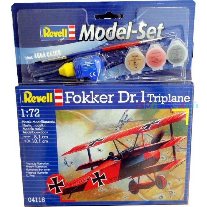 Подарочный набор Истребитель Fokker DR.1 Triplane ( 8 см  ) Revell 64116